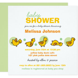 Cartoon Silly Duckies Neutral Baby Shower Invite