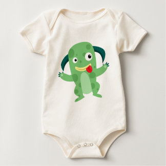 Cartoon Silly Green Monster Baby Bodysuit