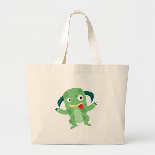 Cartoon Silly Green Monster Canvas Bags