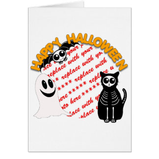 Cartoon Skeleton Cat, Bat & Ghost Photo Frame Card