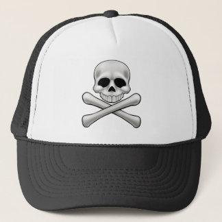 Cartoon Skull and Crossbones Jolly Roger Trucker Hat