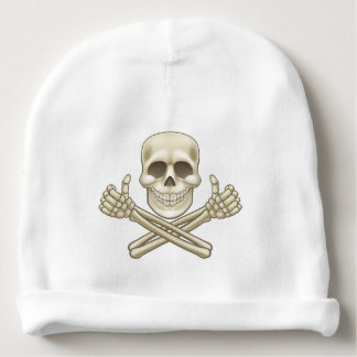 Cartoon Skull and Crossbones Pirate Thumbs Up Baby Beanie