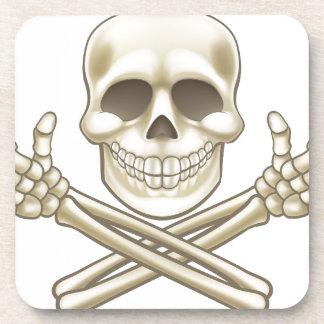 Cartoon Skull and Crossbones Pirate Thumbs Up Coaster