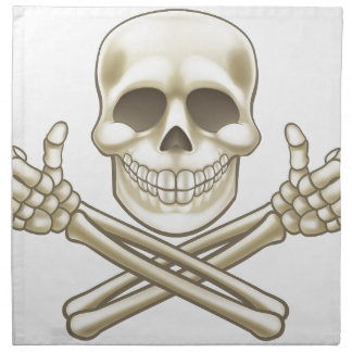 Cartoon Skull and Crossbones Pirate Thumbs Up Napkin
