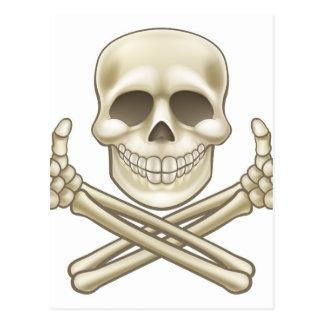 Cartoon Skull and Crossbones Pirate Thumbs Up Postcard