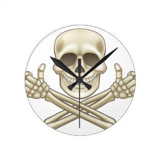Cartoon Skull and Crossbones Pirate Thumbs Up Round Clock
