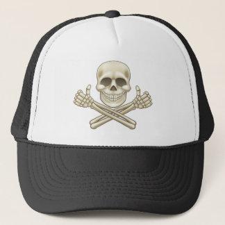 Cartoon Skull and Crossbones Pirate Thumbs Up Trucker Hat
