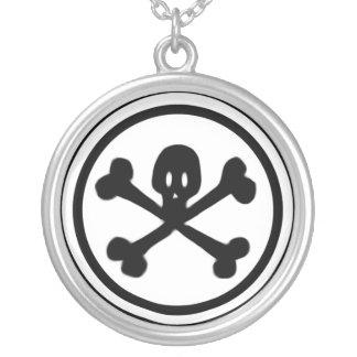 Cartoon Skull & Crossbones Logo Round Pendant Necklace