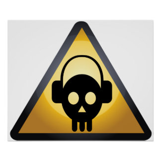 Cartoon Skull DJ Poster