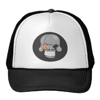Cartoon skull patch cap