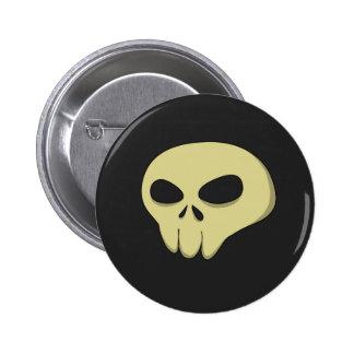 cartoon skull sepia dark 6 cm round badge
