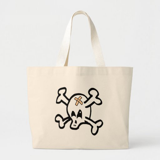 Cartoon Skull w/ Crossbones Tote Bag