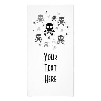 Cartoon Skulls Collage - Greyscale Photo Card Template