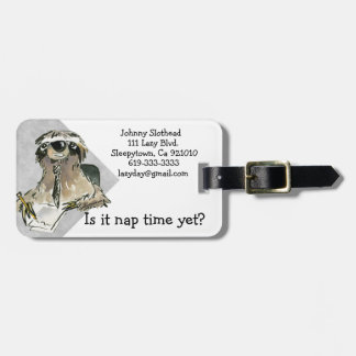 Cartoon Sloth Nap Time Luggage Tag