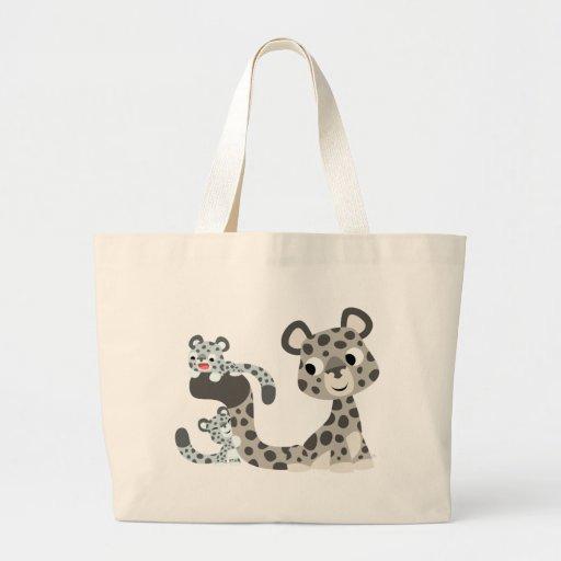 Cartoon Snow Leopard and Cubs Bag