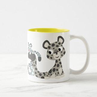 Cartoon Snow Leopard and Cubs Mug