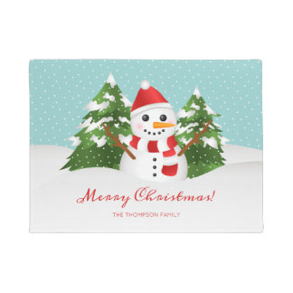 Cartoon Snowman & Custom Family Name Christmas Doormat