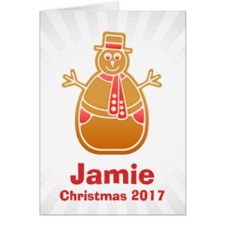 Cartoon Snowman Gingerbread Cookie Customize Card