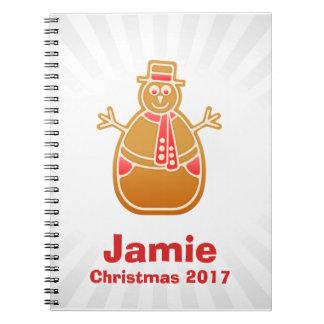 Cartoon Snowman Gingerbread Cookie Customize Notebook