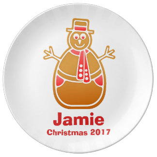 Cartoon Snowman Gingerbread Cookie Customize Plate