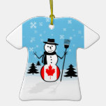 Cartoon Snowman in Field of Snow and Canada Flag