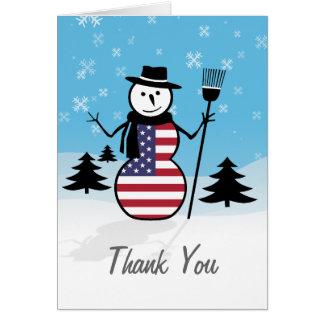 Cartoon Snowman in Field of Snow in US Flag Card