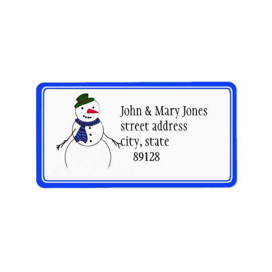 Cartoon Snowman Little Flirty Boy Address Label