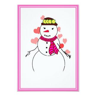Cartoon Snowman Little Flirty Sweetheart Invite