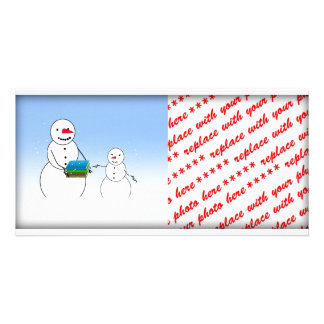 Cartoon Snowmen Going Back to School Photo Greeting Card