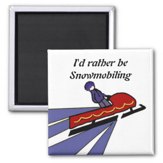 Cartoon Snowmobile with Saying Magnet