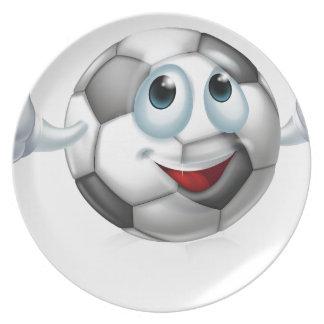 Cartoon soccer ball character plates