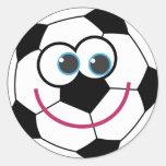 Cartoon Soccer Ball Round Sticker