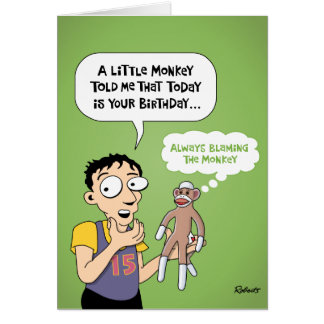 Cartoon Sock Monkey Birthday Card