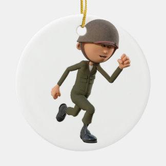 Cartoon Soldier Running Ceramic Ornament