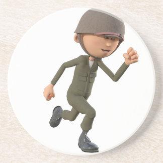 Cartoon Soldier Running Coaster