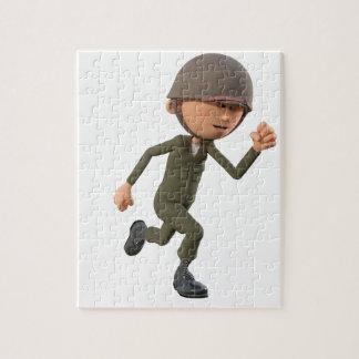 Cartoon Soldier Running Jigsaw Puzzle