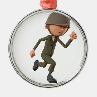 Cartoon Soldier Running Metal Ornament