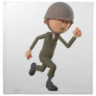 Cartoon Soldier Running Napkin