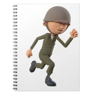 Cartoon Soldier Running Notebook