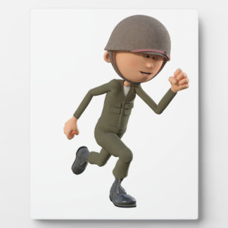 Cartoon Soldier Running Plaque