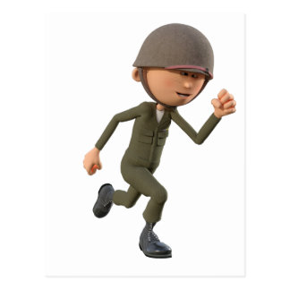 Cartoon Soldier Running Postcard