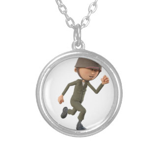 Cartoon Soldier Running Silver Plated Necklace