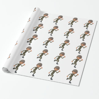 Cartoon Soldier Running Wrapping Paper