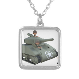 Cartoon Soldiers in a Tank Silver Plated Necklace