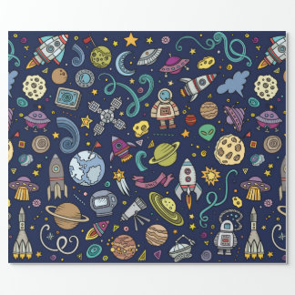 Cartoon Space Explorer Birthday Kids Theme Wrapping Paper