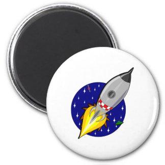 Cartoon Space Rocket 6 Cm Round Magnet