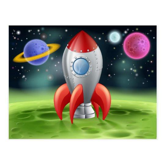 Cartoon Space Rocket on Alien Planet Postcard
