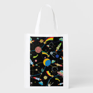Cartoon Space Scene Reusable Grocery Bag