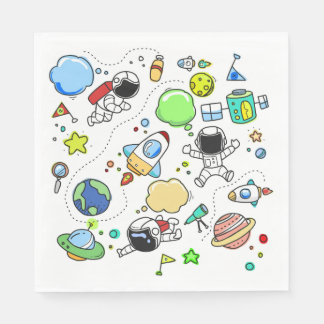 Cartoon Space Theme Birthday Party Paper Napkins