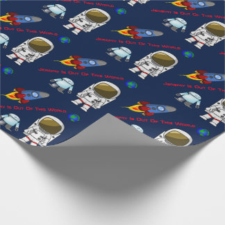 Cartoon Space Theme Custom Birthday Wrapping Paper